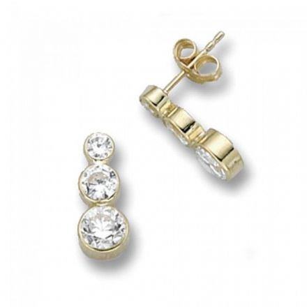 Just Gold Earrings -3Cz Trio Drop, ES259S
